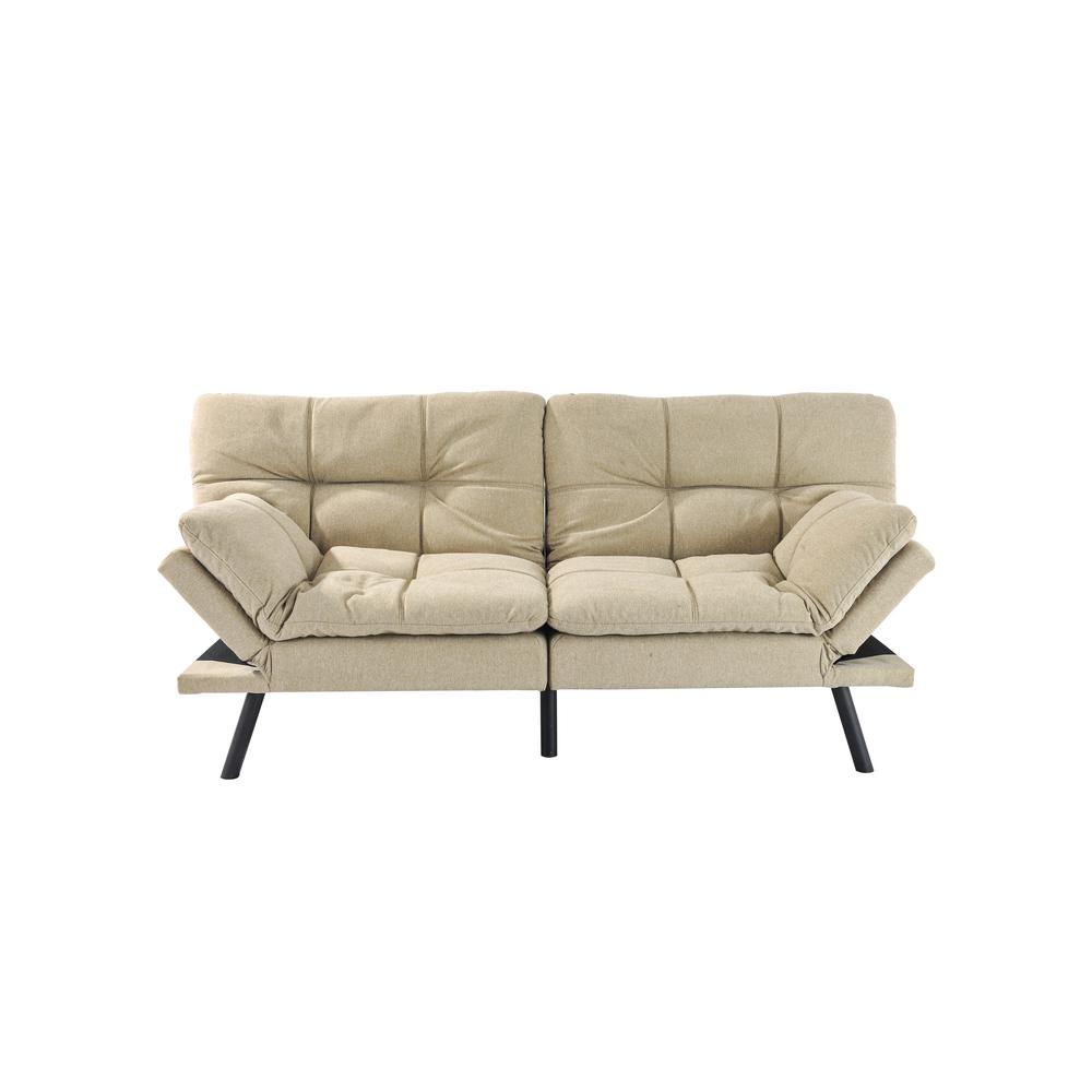 Folding Lounge Couch Light Brown Sofa Bed