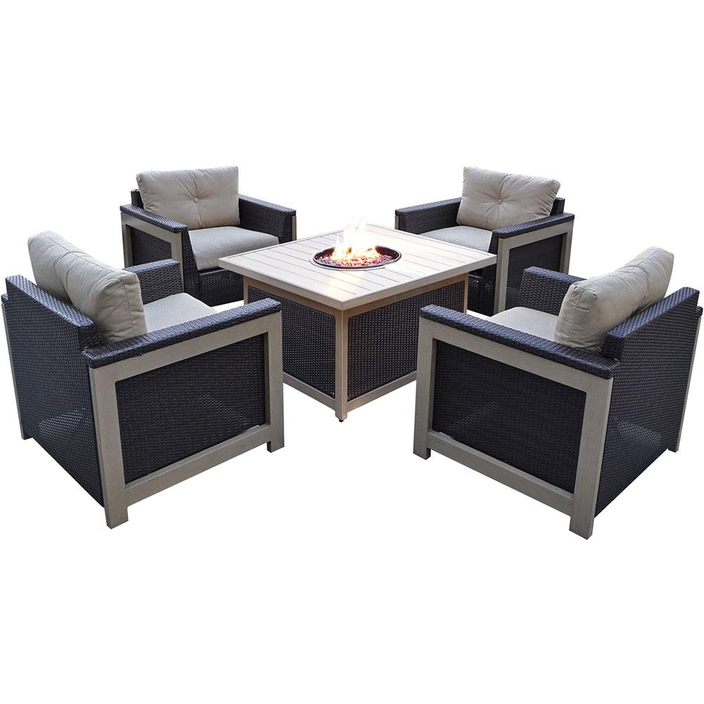 Agio Wolf 5 Piece Wicker Patio Fire Pit Conversation Set With Tan Cushions