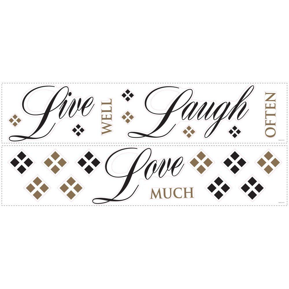 Roommates Live Love Laugh L And Stick 22 Piece Wall Decals