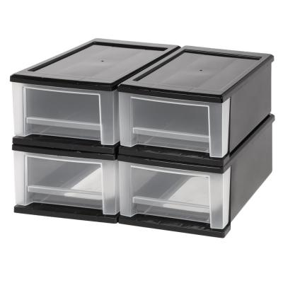 8.7 in. x 5.8 in. Black 7 Qt. Stackable Drawer (4-Pack)