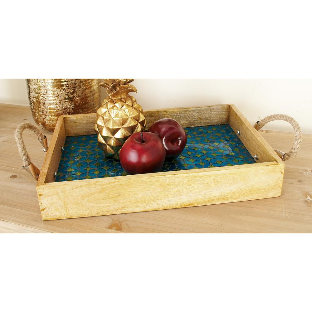 Oak Brown Wood Rectangular Trays with Turquoise and Emerald Green Mosaic