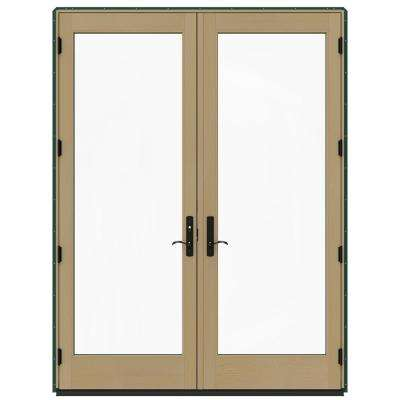 72 in. x 96 in. W-4500 Hartford Green Prehung Right-Hand Inswing French Patio Door with Contemporary Frame