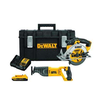 20-Volt MAX Lithium-Ion Cordless Circular and Reciprocating Saws Combo Kit (2-Tool) with ToughSystem Case