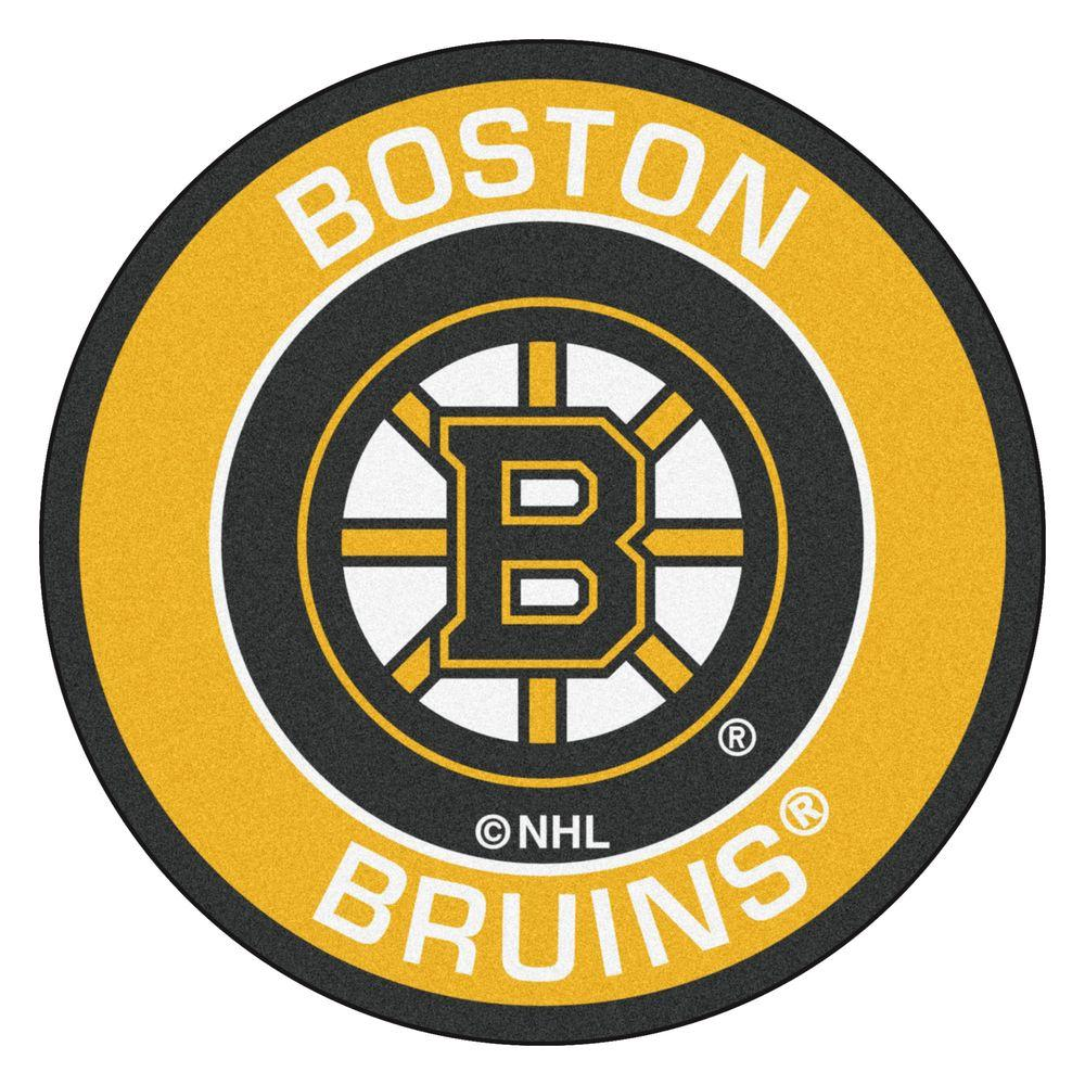 Fanmats Nhl Boston Bruins Yellow 2 Ft X Round Area Rug