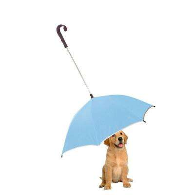 One Size Pour-Protection Umbrella with Reflective Lining and Leash Holder in Blue