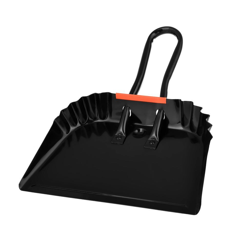 12 in. Black Heavy-Duty Metal Dust Pan