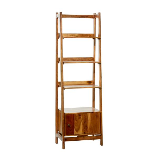 Litton Lane 21 5 In X 69 In Natural Brown Wooden Leaning Ladder Decorative Shelf With 4 Wooden Step Compartments 20150 The Home Depot
