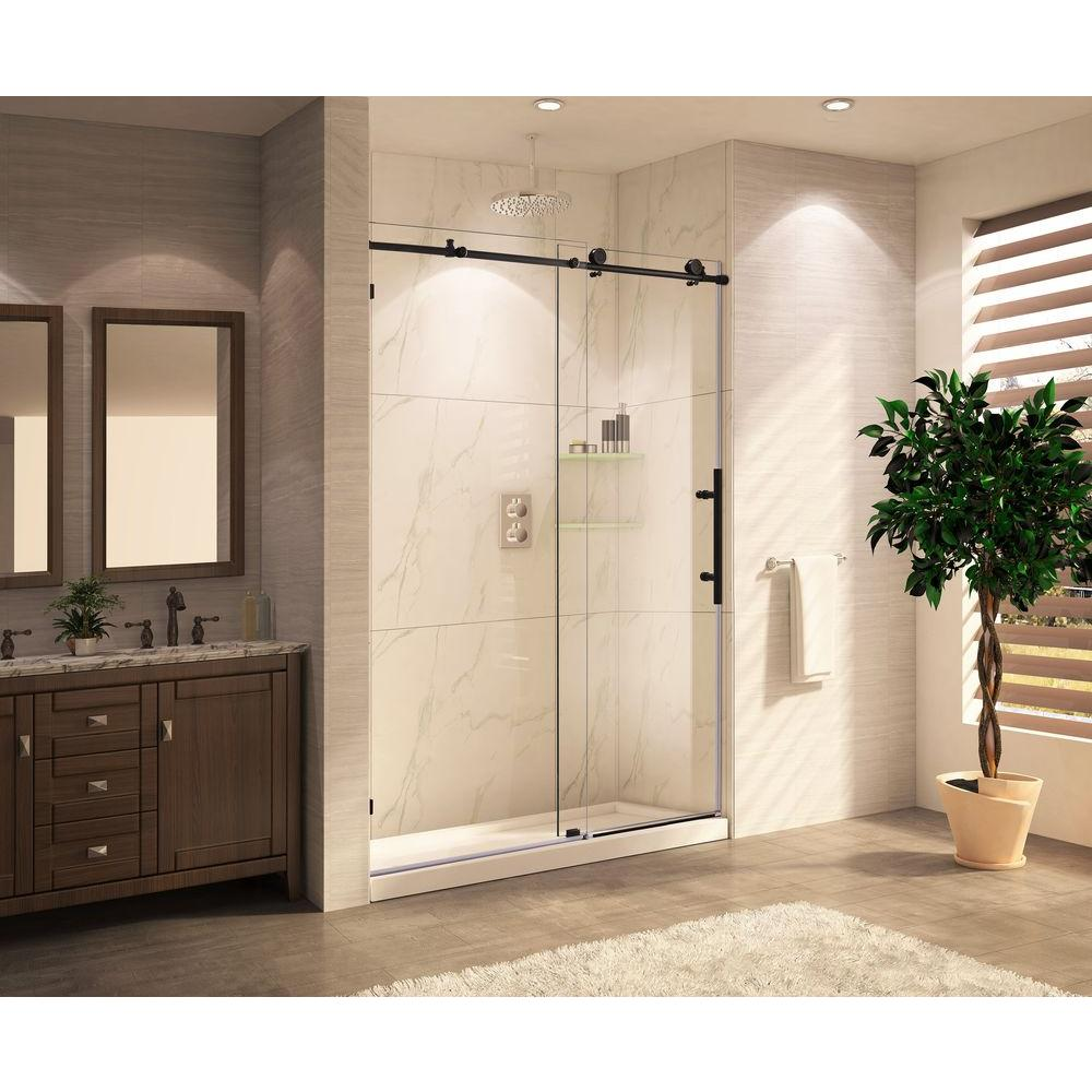 wet republic mocha lux premium tub 60 in x 62 in frameless sliding shower door with clear glass in oil rubbed the home depot