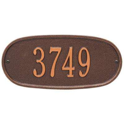 Standard Oval Antique Copper Wall 1-Line Address Plaque