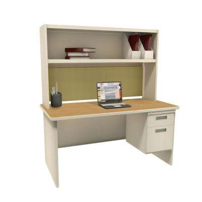 Putty and Oak Palmetto 60 in. Single File Desk with Storage Shelf
