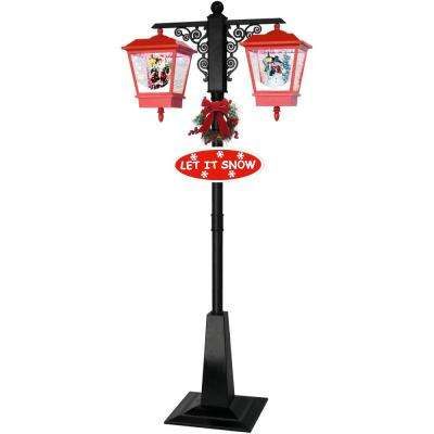 71 in. Double Musical Lamp Post with 2 Red Lanterns and Snow Function