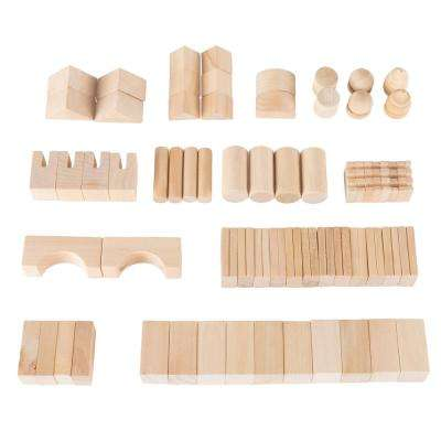 Classic Wooden Blocks Building Set with Storage Bag (65-Piece)