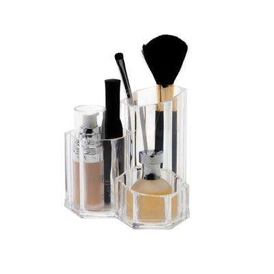6.69 in. x 3.74 in. x 2.48 in. 3 Compartment Makeup Brush Holder