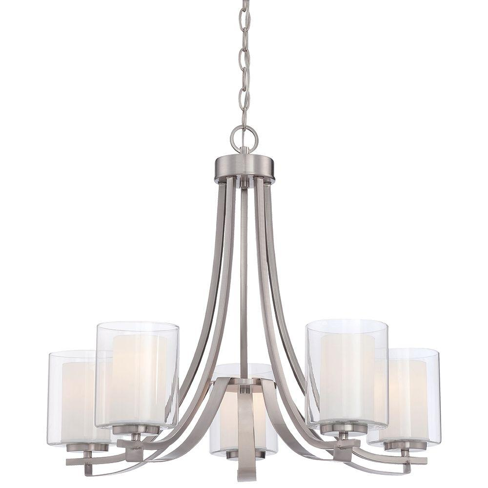 Modern chandeliers lighting the home depot parsons studio 5 light brushed nickel chandelier aloadofball Image collections