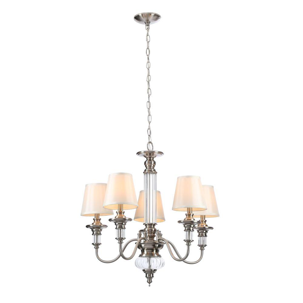 Hampton Bay Gala 5-Light Polished Nickel Chandelier