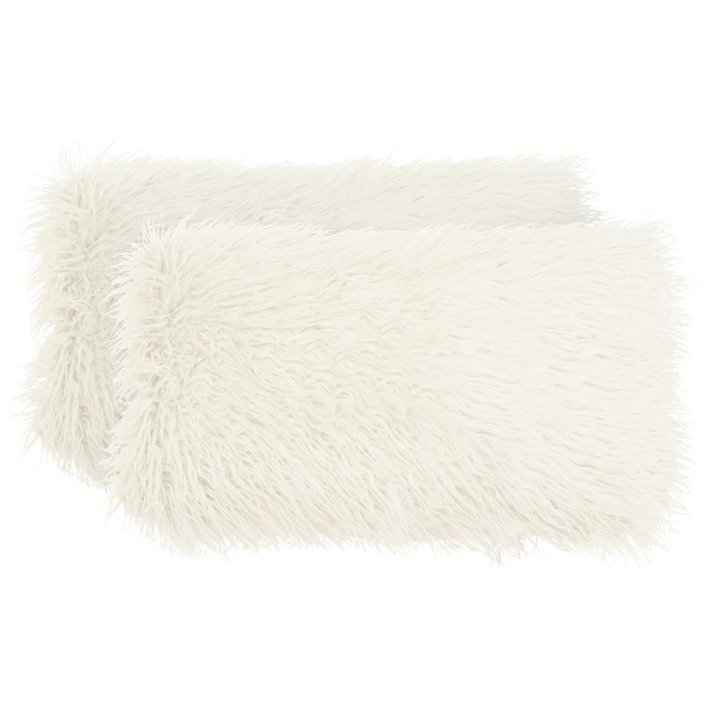 Mongolian Faux Fur Ivory Decorative Lumbar Pillow Set (2-Piece)
