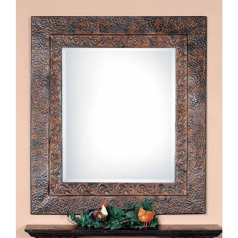 Global Direct 34 in. x 30 in. Brown Framed Mirror