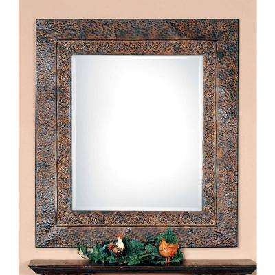 34 in. x 30 in. Brown Framed Mirror