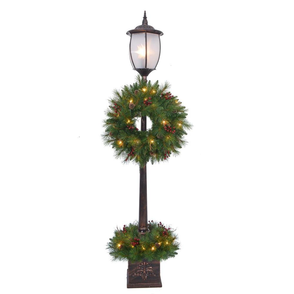 Home Accents Holiday 7 ft. Pre-Lit Lantern Post Artificial Tree with Berry, Pinecone and Twig