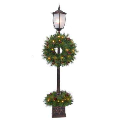 7 ft. Pre-Lit Lantern Post Artificial Tree with Berry, Pinecone and Twig