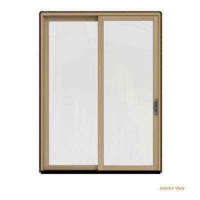 72 in. x 96 in. W-2500 Contemporary Brown Clad Wood Right-Hand Full Lite Sliding Patio Door w/Unfinished Interior