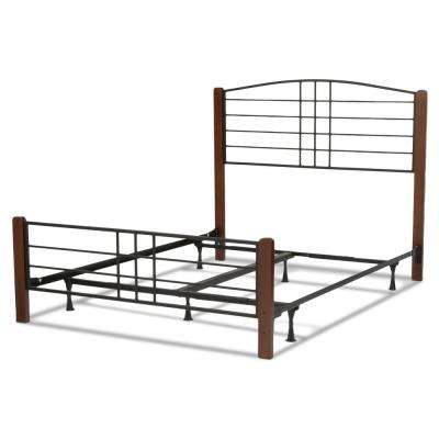 Dayton Black Grain Queen Complete Bed with Metal Panels and Flat Wooden Posts