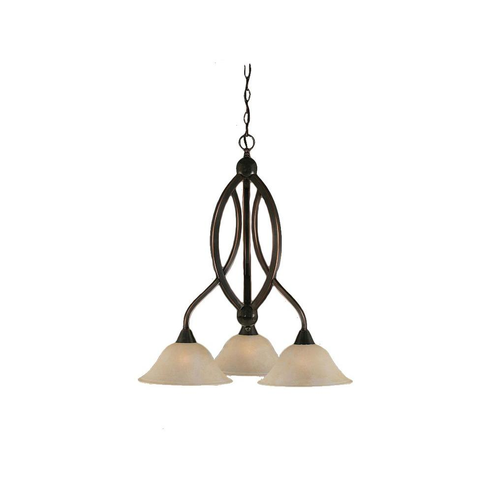 Concord 3-Light Black Copper Chandelier with Amber Marble Glass