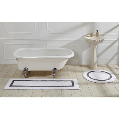 Hotel Collection 30 in. x 30 in. White and Grey Cotton Bath Mat