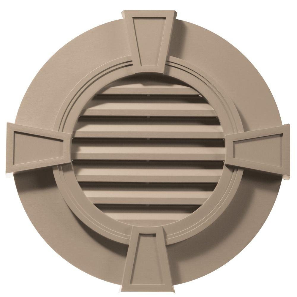Builders Edge 30 in. Round Gable Vent with Keystones in Wicker