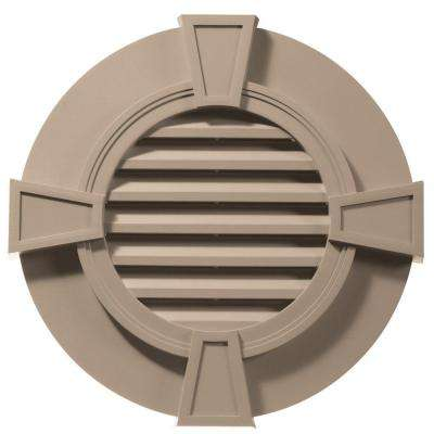 30 in. Round Gable Vent with Keystones in Wicker