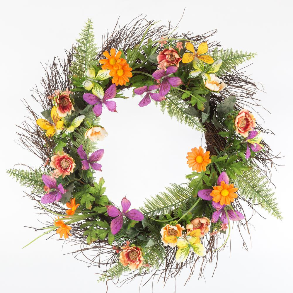 Home Accents Holiday 24 in. Spring Butterfly Wreath