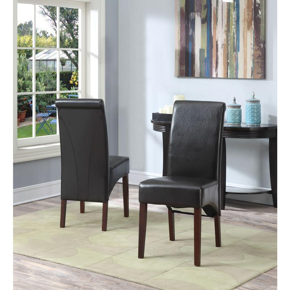 Dining Chairs Set Brown Faux Leather Modern Style Walnut: Simpli Home Avalon Tanners Brown Faux Leather Parsons