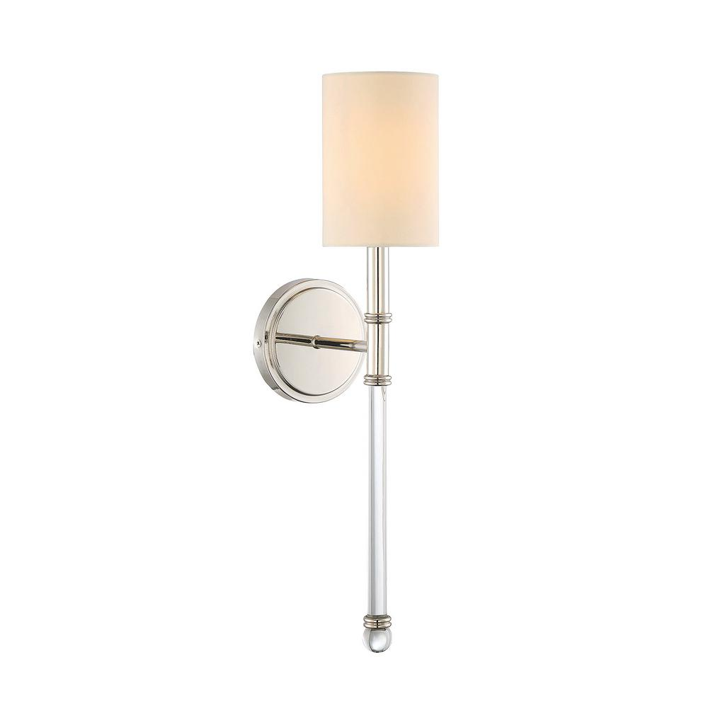 Filament Design 1 Light Polished Nickel Sconce With Soft White Fabric Shade ECT SH256837