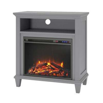 Satinwood 32 in. Gray TV Stand with Electric Fireplace