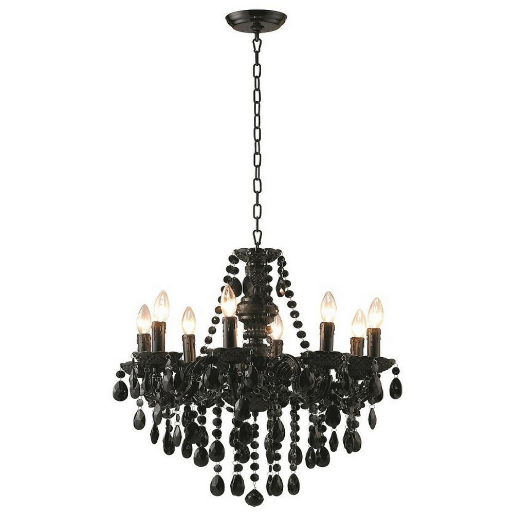 river of goods 8-light black glam dame jeweled chandelier-13488