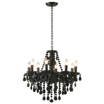 8-Light Black Glam Dame Jeweled Chandelier