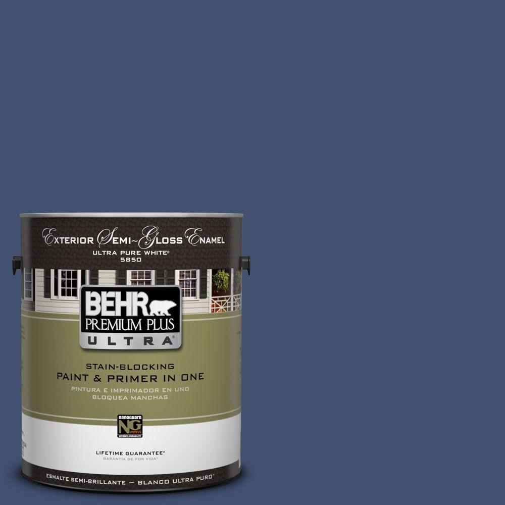 BEHR Premium Plus Ultra 1-Gal. #UL240-22 Signature Blue Semi-Gloss Enamel Exterior Paint