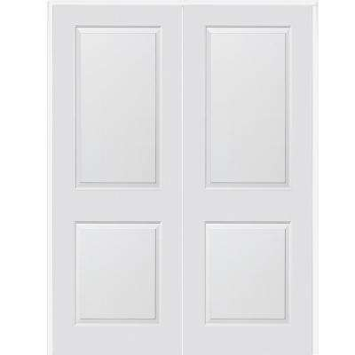 60 in. x 84 in. Smooth Carrara Both Active Solid Core Primed Molded Composite Double Prehung Interior Door