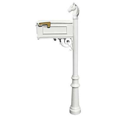 Lewiston White Post Mount Non-Locking Mailbox System