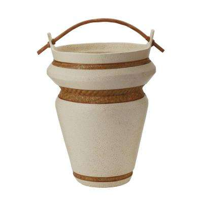 Tofu 21 in. Earthenware Decorative Urn in Cream