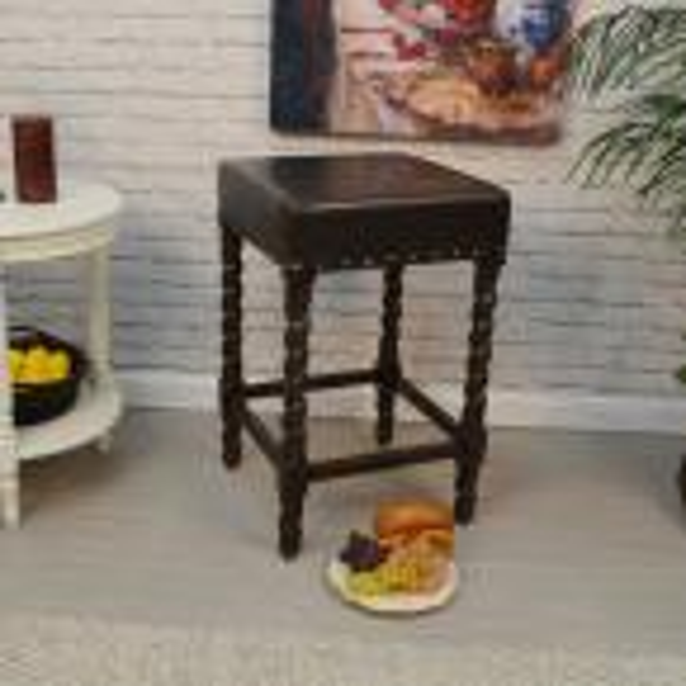 Carolina Cottage Remick 24 in. Espresso Barley Twist Upholstered Counter Stool