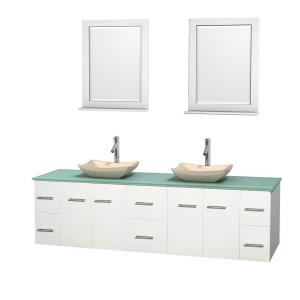 Wyndham Collection Centra 80 inch Double Vanity in White with Glass Vanity Top in Green, Ivory Marble Sinks and 24 inch... by Wyndham Collection