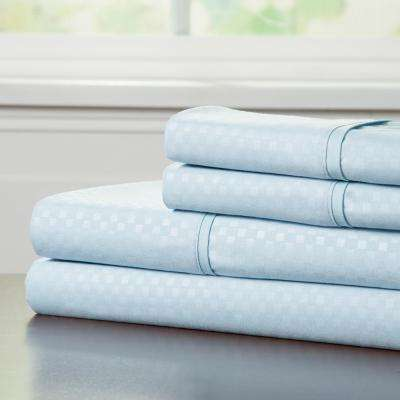 Embossed 4-Piece Blue 90 GSM Microfiber King Sheet Set