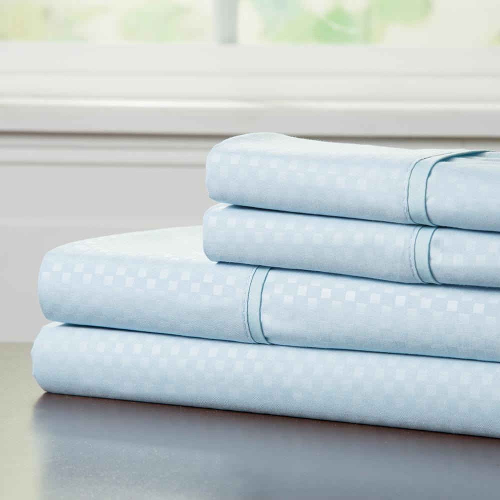 Embossed 3-Piece Blue 90 GSM Microfiber Twin Sheet Set