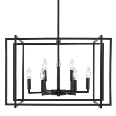 Tribeca 9-Light Black Chandelier with Black Accents