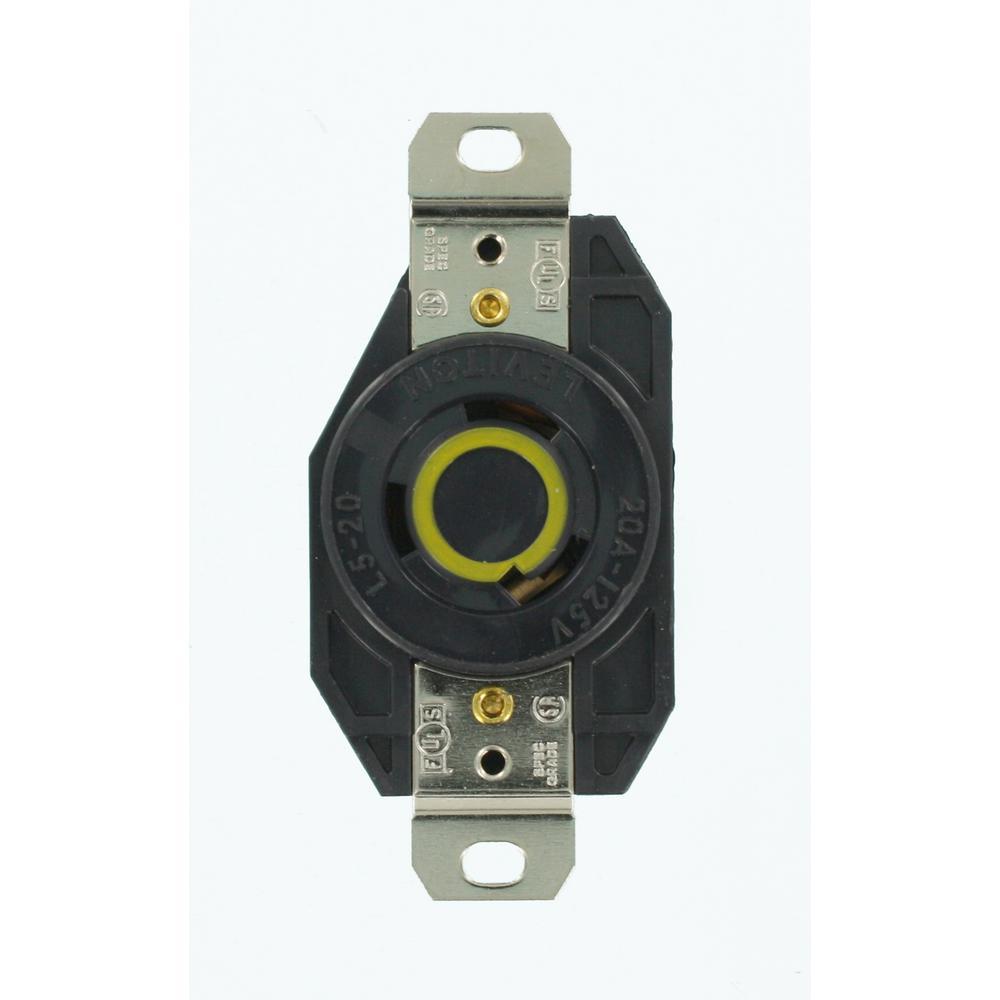 20 Amp 125-Volt Flush Mounting Grounding Locking Outlet, Black