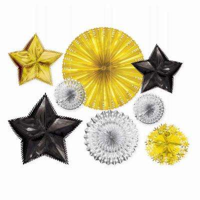 New Year's Black, Silver and Gold Foil Starburst Decorating Kit (8-Count)