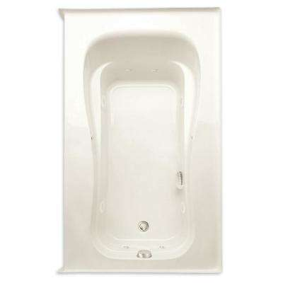 Novelli 60 in. Acrylic Right Drain Rectangular Alcove Whirlpool Bathtub with Heater in Biscuit
