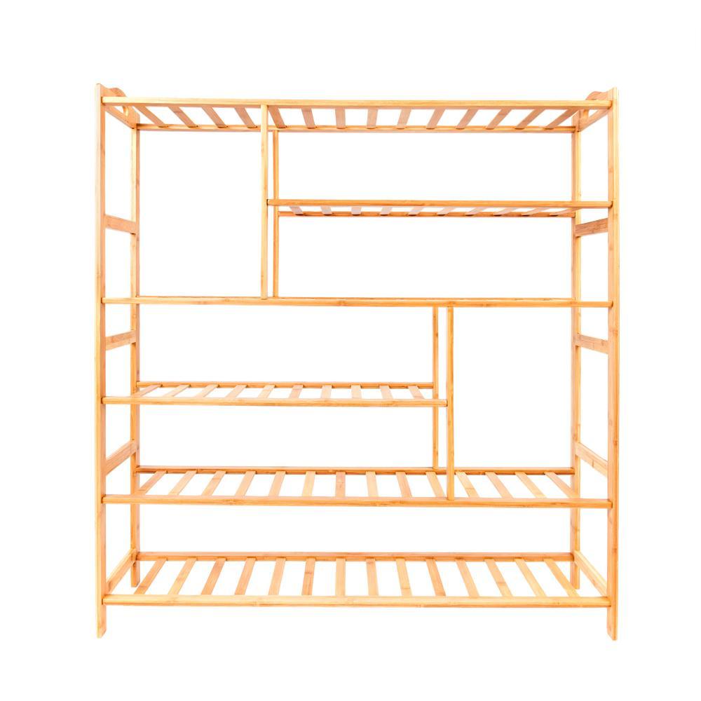 20-Pair Wood Color 6-Layer Portable Bamboo Splint Multi-Function Shoe Organizer