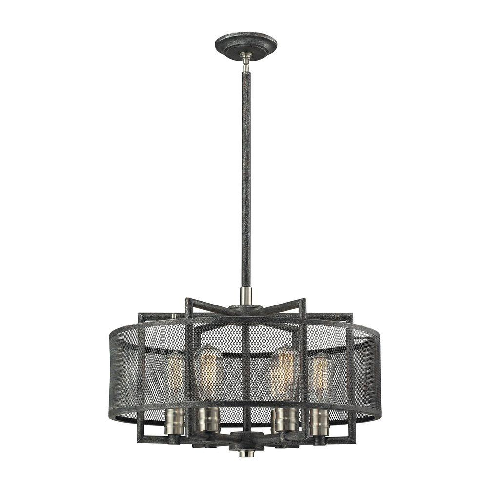 Titan lighting slatington 6 light silvered graphite and brushed titan lighting slatington 6 light silvered graphite and brushed nickel chandelier with wire mesh shade arubaitofo Choice Image